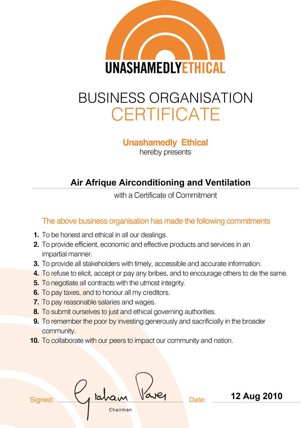 Air Afrique Ethics