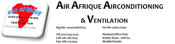 Airconditioning installation, Ventilation systems rental Gauteng